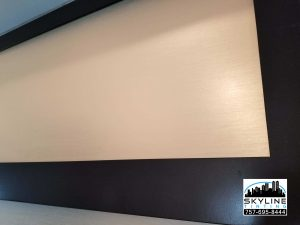 Closeup pic of 3M Fasara Straight Washi decorator window film installed on interior glass